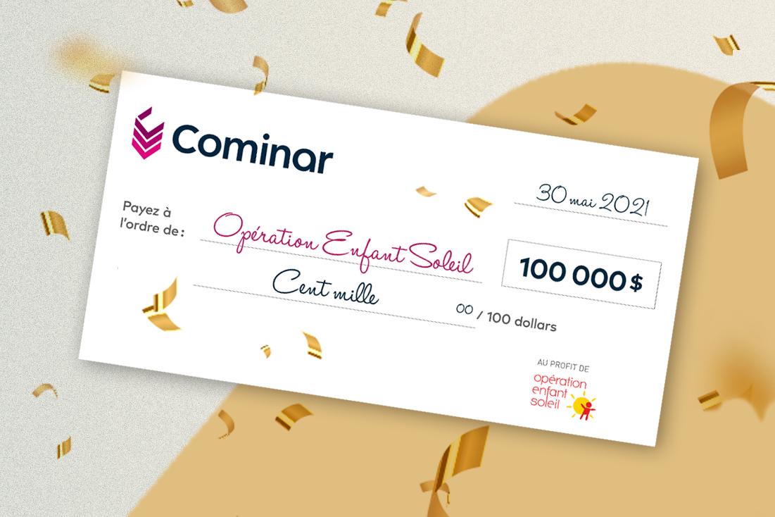 Cominar remet un chèque de 100 000 $ lors du 34e Téléthon Opération Enfant Soleil